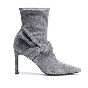Metallic Stretch Knit Sock Boots